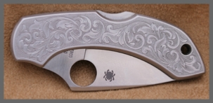 For Sale, Engraved Spyderco Delica Knife, by Les Schowe