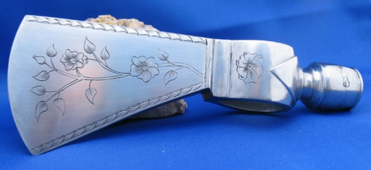 Engraved Pipe Tomahawk  by Les Schowe Engraving