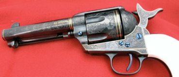 Engraved USFA Single Action Army Revolver. 44 Special, by Les Schowe Engraving